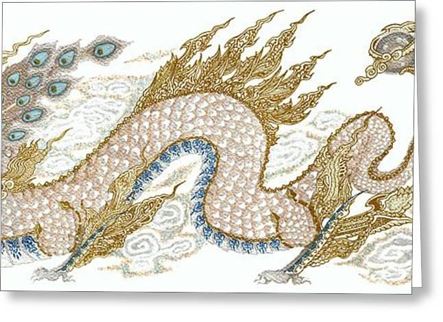 Fantasy World Greeting Cards - Thai Dragon Greeting Card by Jennifer  Anne Esposito