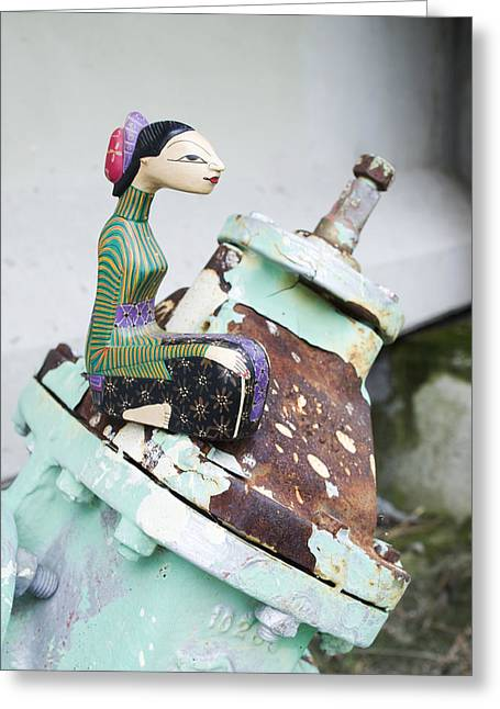 Wooden Sculpture Greeting Cards - Thai Figurine 1 Greeting Card by William Patrick
