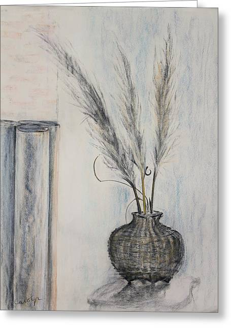 Basket Pastels Greeting Cards - Thai Fishing Basket with Pampas Grass Plumes Greeting Card by Asha Carolyn Young