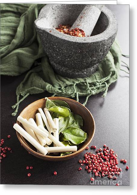 Fresh And Healthy Greeting Cards - Thai Food Ingredients Greeting Card by Charlotte Lake