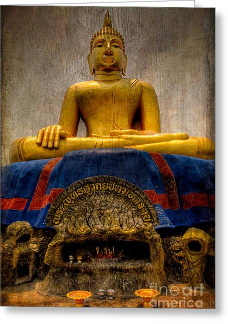 Religious Digital Art Greeting Cards - Thai Golden Buddha Greeting Card by Adrian Evans