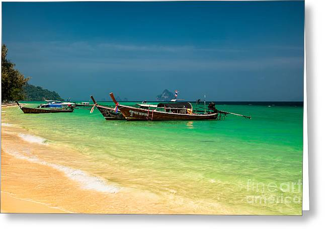 Asia Digital Greeting Cards - Thai Longboats Greeting Card by Adrian Evans