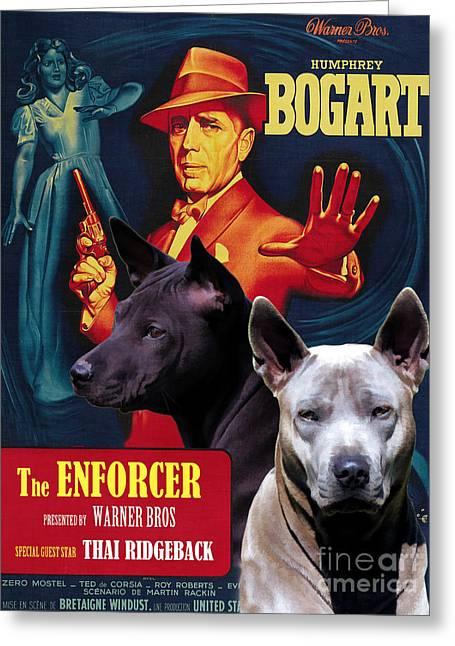Enforcer Greeting Cards - Thai Ridgeback Art Canvas Print - The Enforcer Movie Poster Greeting Card by Sandra Sij