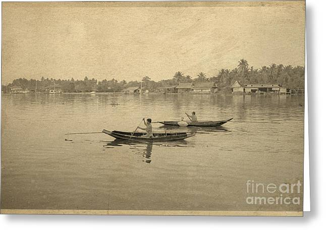 Thailand Greeting Cards - Thai river life Greeting Card by Setsiri Silapasuwanchai