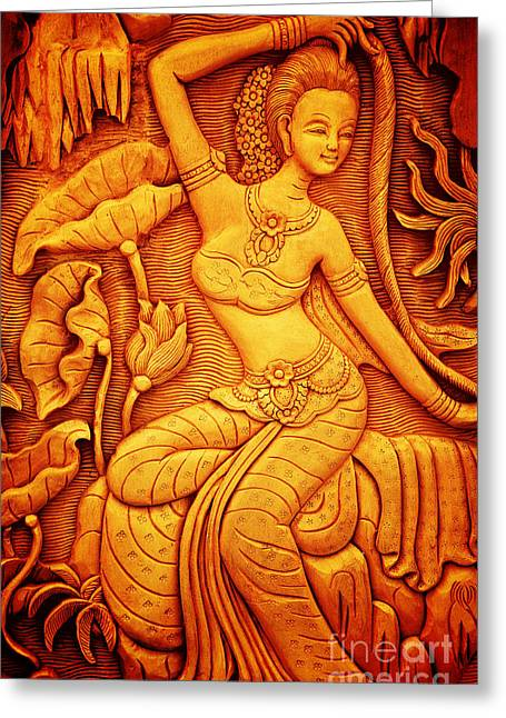 Thai Antiquities Greeting Cards - Thai style art carving wood Thailand. Greeting Card by Jeng Suntorn niamwhan