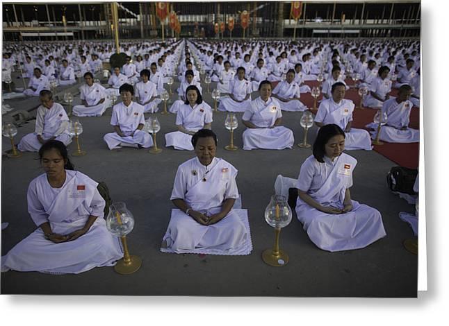 Thai Women Pray For Peace Greeting Card by David Longstreath
