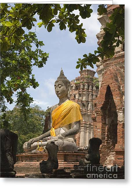 Ancient Ruins Greeting Cards - Thailand Ayutthaya Buddha Greeting Card by Colin and Linda McKie