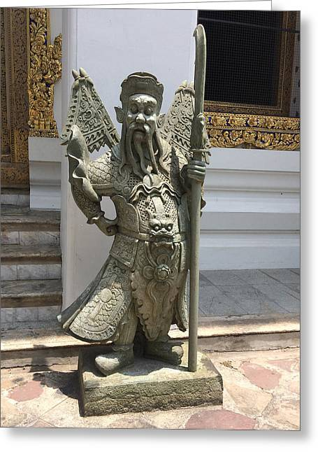 Wat Sculptures Greeting Cards - Thailand - Bangkok Greeting Card by Rene Girardi