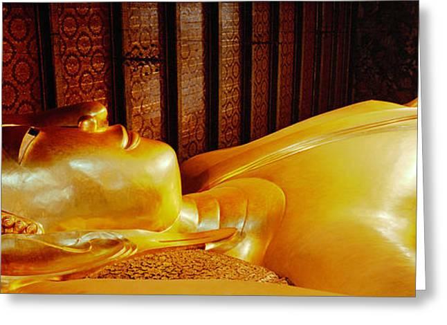 Gilding Greeting Cards - Thailand, Bangkok, Wat Po, Reclining Greeting Card by Panoramic Images