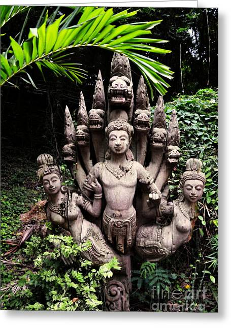 Wooden Sculpture Greeting Cards - Thailand Buddhist Carved Sculpture Greeting Card by Tracy Nelson