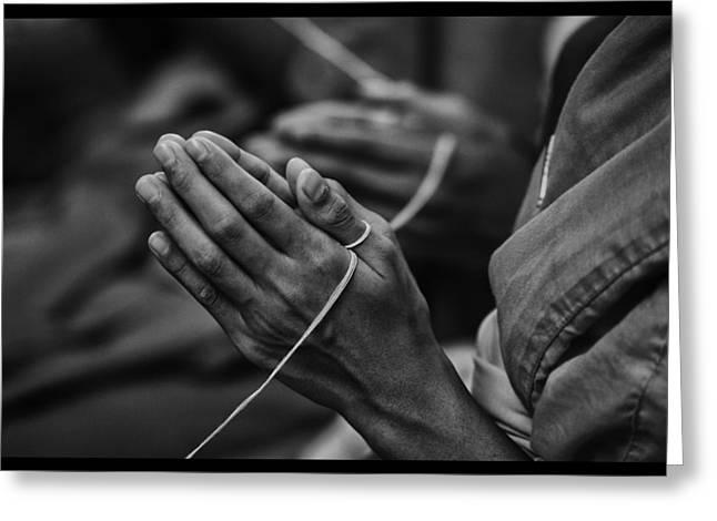 Conservative Greeting Cards - Thailand Buddhist Prayers 6 Greeting Card by David Longstreath