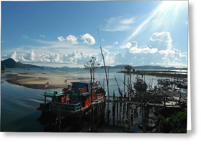 Fishing Boats Greeting Cards - Thailand Fishboat Greeting Card by Reba Brew