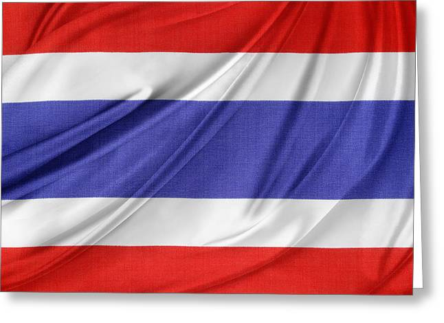 Textile Photographs Photographs Greeting Cards - Thailand flag Greeting Card by Les Cunliffe