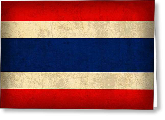 Thailand Greeting Cards - Thailand Flag Vintage Distressed Finish Greeting Card by Design Turnpike