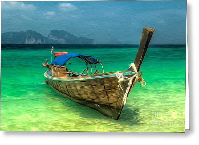 Asia Digital Greeting Cards - Thailand Long Boat Greeting Card by Adrian Evans