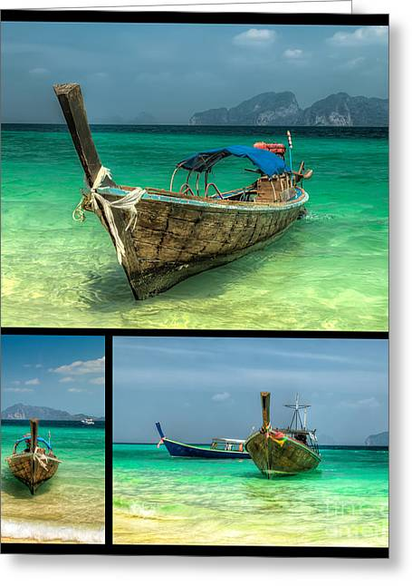 Speed Boat Greeting Cards - Thailand Longboats Greeting Card by Adrian Evans