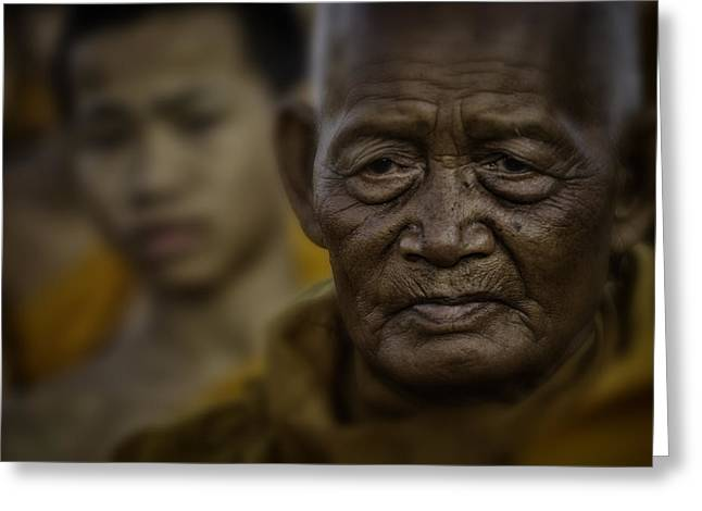 Begging Bowl Greeting Cards - Thailand Monks 2 Greeting Card by David Longstreath