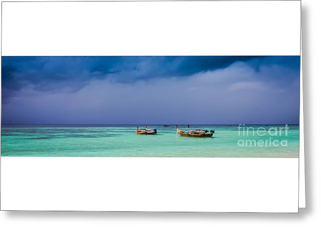 Grey Clouds Greeting Cards - Thailand Storm Panorama Greeting Card by Stephen Allen