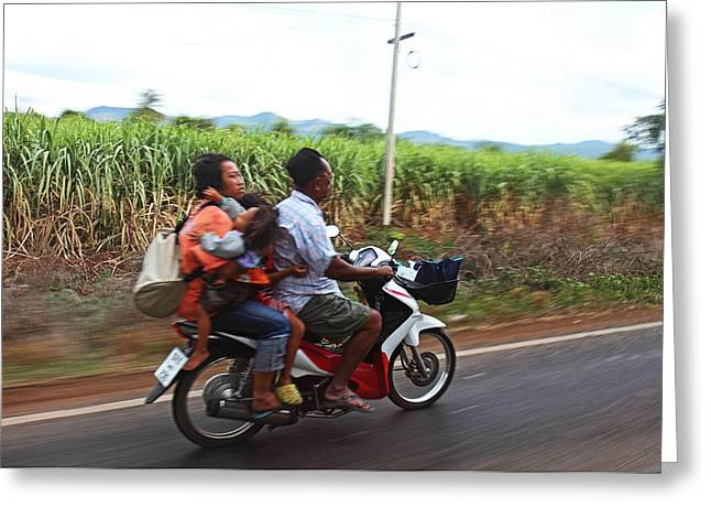 Motorcycles Photographs Greeting Cards - Thailand Transportation - 01131 Greeting Card by DC Photographer
