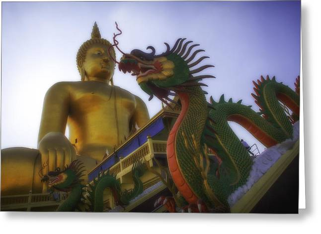 Conservative Greeting Cards - Thailand Wat Muang Greeting Card by David Longstreath