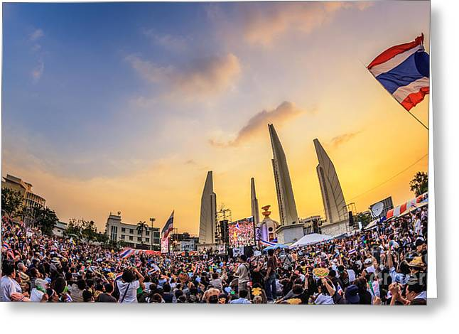 Oppression Photographs Greeting Cards - Thailands  protest  Greeting Card by Anek Suwannaphoom