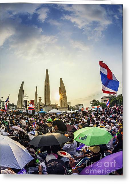 Protest Greeting Cards - Thailands protest at Democracy Monument against the government  Greeting Card by Anek Suwannaphoom