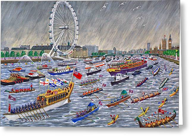 Thames Diamond Jubilee Pageant  Greeting Card by Ronald Haber