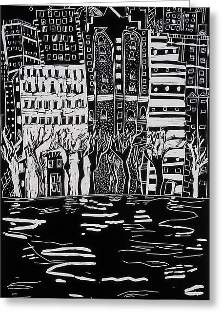 Old City Prints Greeting Cards - Thames in Winter Greeting Card by Hilary Rosen