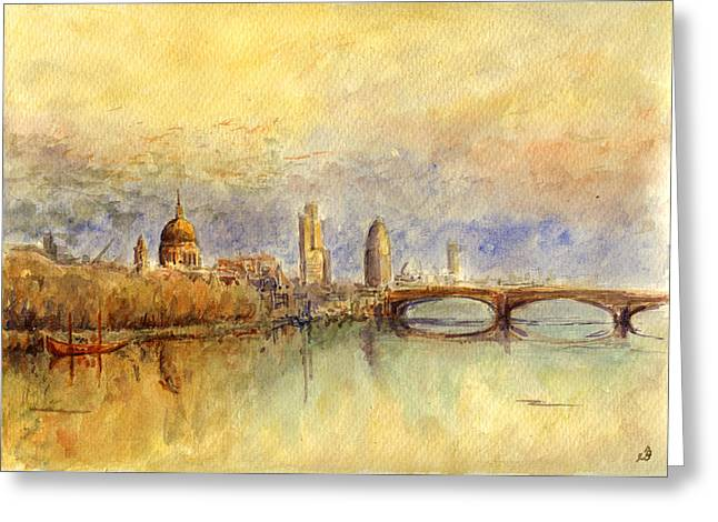 Thames River Greeting Cards - Thames London Greeting Card by Juan  Bosco