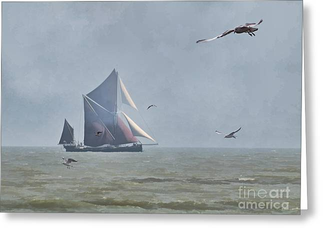 Barges Greeting Cards Greeting Cards - Thames Sailing Barge Greeting Card by Peter Chapman