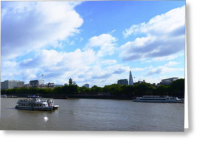 Boat Cruise Greeting Cards - Thames with Blue Sky and Puffy Clouds Greeting Card by Richard Henne