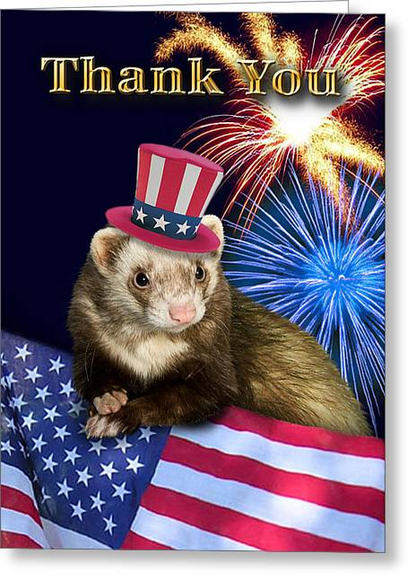 Wildlife Celebration Greeting Cards - Thank You Ferret Greeting Card by Jeanette K