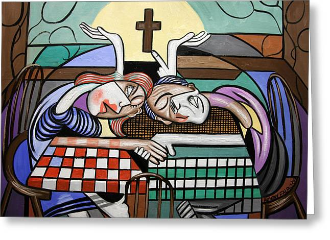 Man And Woman Greeting Cards - Thank you Jesus When Two Or More Are Gathered Greeting Card by Anthony Falbo