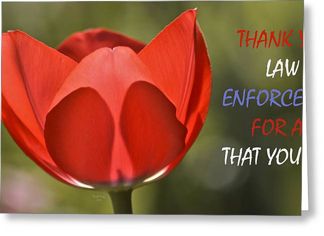 Fbi Mixed Media Greeting Cards - Thank You Law Enforcement Greeting Card by Trish Tritz