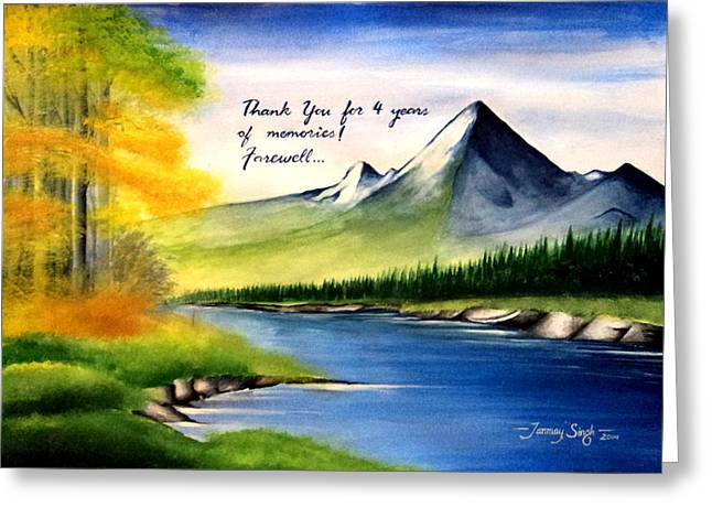 Etc. Paintings Greeting Cards - Landscape- Offering for Guru Greeting Card by Tanmay Singh