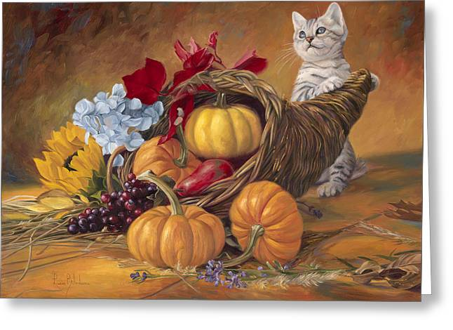 Pumpkin Greeting Cards - Thankful Greeting Card by Lucie Bilodeau