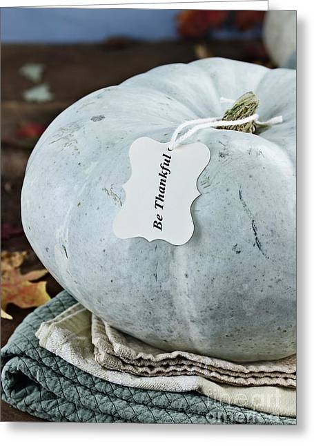 Table Cloth Greeting Cards - Thankful Greeting Card by Stephanie Frey