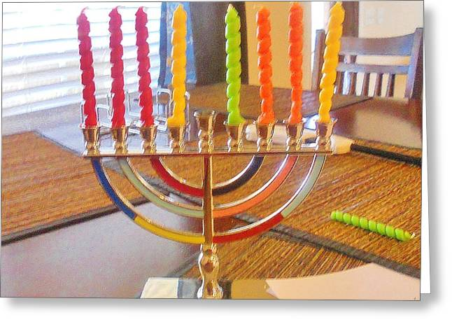 Hanukah Greeting Cards - ThanksChanukah 2013 Menorah  Greeting Card by The Sankoffer