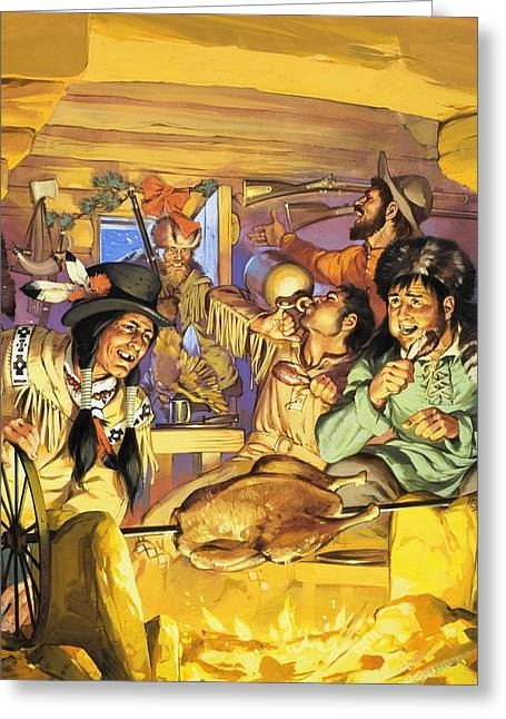 Trappers Greeting Cards - Thanksgiving Greeting Card by Angus McBride
