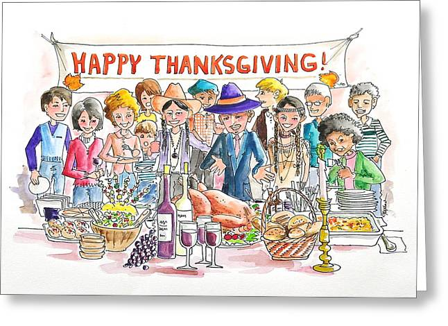 Table Wine Drawings Greeting Cards - Holiday Thanksgiving  Buffet Party Greeting Card by Gertrudes  Asplund