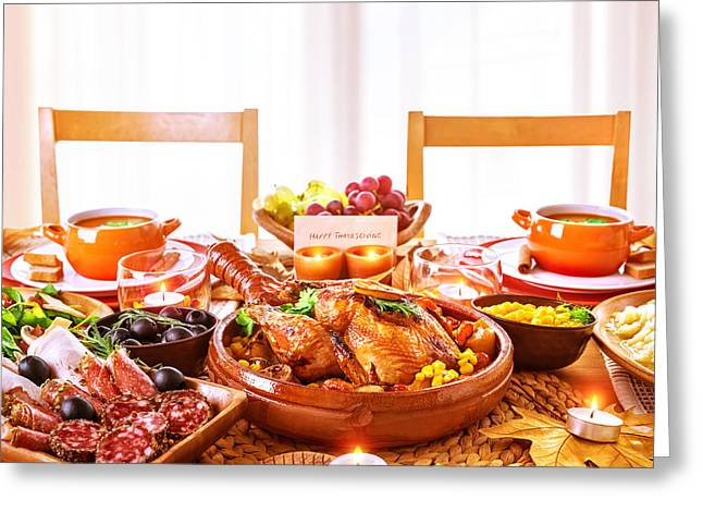 Dinner Party Invitation Greeting Cards - Thanksgiving day dinner Greeting Card by Anna Omelchenko