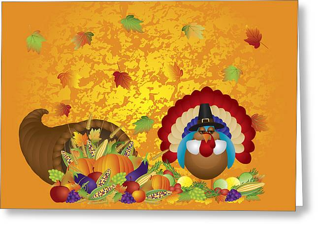 Symbol Of Plenty Greeting Cards - Thanksgiving Day Feast Cornucopia Turkey Pilgrim with Background Greeting Card by JPLDesigns