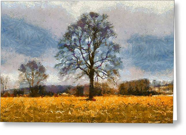 Fall Scenes Mixed Media Greeting Cards - Thanksgiving Day In Ohio Greeting Card by Dan Sproul