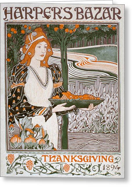 Thanksgiving Greeting Cards - Thanksgiving edition of Harpers Bazaar Greeting Card by American School