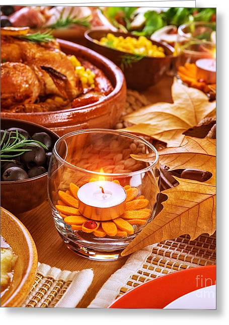 Banquet Greeting Cards - Thanksgiving table decoration Greeting Card by Anna Omelchenko