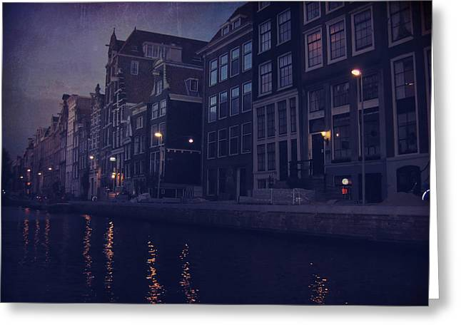 Building. Home Greeting Cards - That Evening in Amsterdam Greeting Card by Laurie Search
