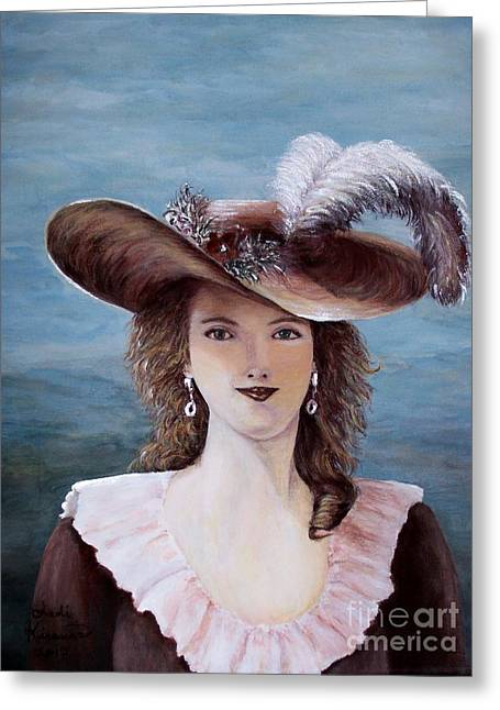 Ostrich Feathers Greeting Cards - That Feather in Her Hat Greeting Card by Judy Kirouac
