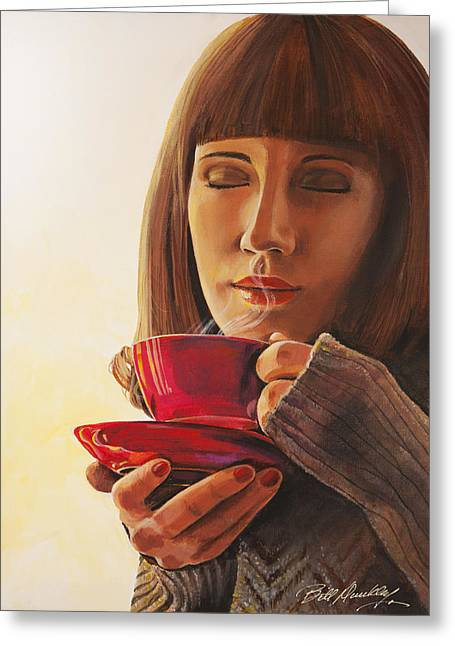 Coffee Drinking Paintings Greeting Cards - That First Cup Greeting Card by Bill Dunkley