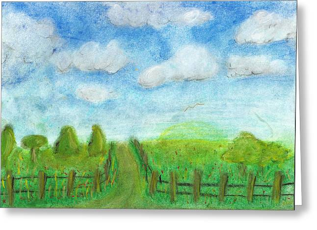 Dot Pastels Greeting Cards - That Old Dirt Road Greeting Card by Melissa Osborne