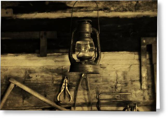 Old Cabins Greeting Cards - That Old Lantern Greeting Card by Dan Sproul